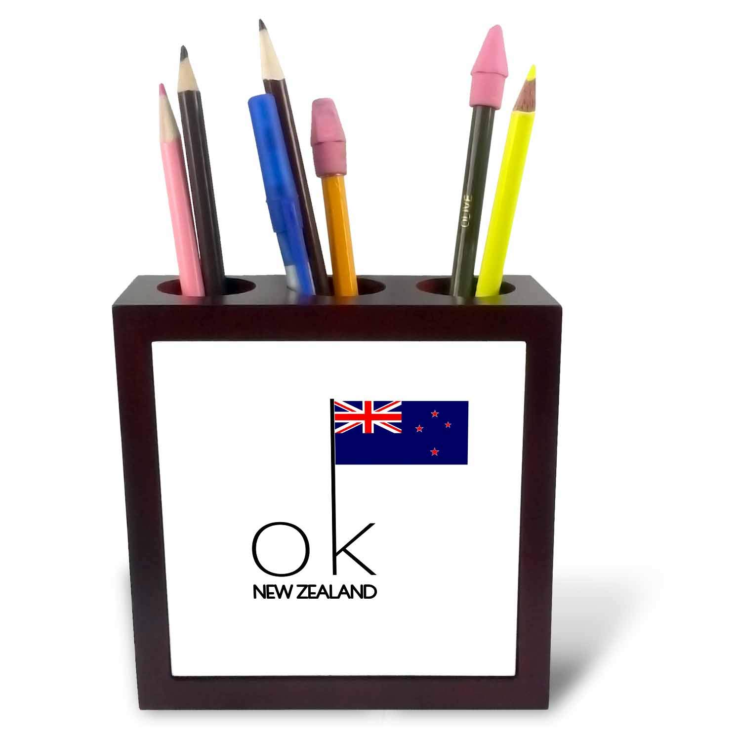 3dRose Alexis Design - OK Country - Stylish Text OK New Zealand and an Image of The Zelanian Flag - 5 inch Tile Pen Holder (ph_292339_1)