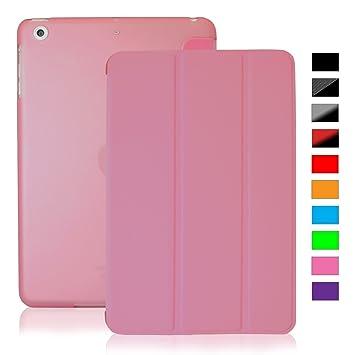 KHOMO Funda iPad Mini 4 - Carcasa Rosa Rosada Semi Transparente con Soporte y Smart Cover para Nuevo Apple iPad Mini 4 - Clear Pink