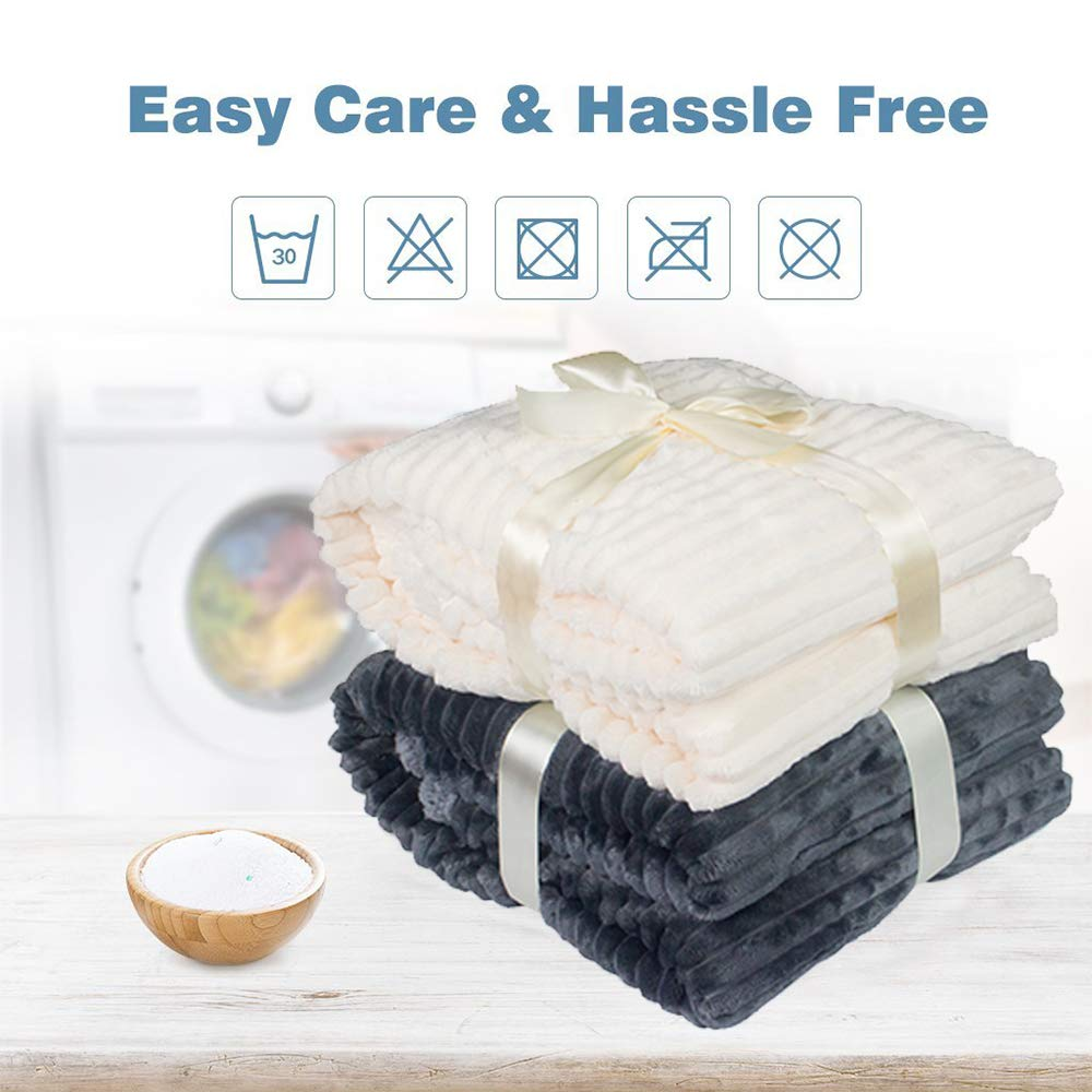 """Ghome Luxury Fleece Sherpa Throw Blanket Warm Cozy Wavy Stripes ,Reversible Fuzzy Microfiber All Season Blanket for Bed or Couch 50""""X60"""" in"""
