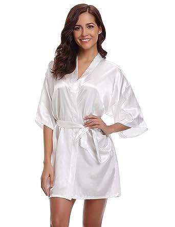 ed68a8218e10c Aibrou Damen Morgenmantel Kimono Satin Kurz Robe Bademantel Nachtwäsche  Sleepwear V Ausschnitt mit Gürtel (Blanc