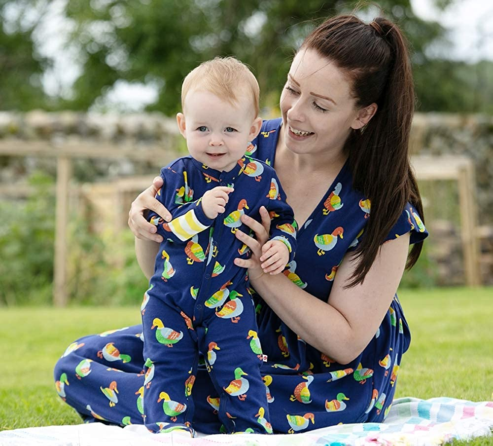 Soft Jersey Piccalilly Baby Sleepsuit with Feet Blue Duck Print for Baby Girl Baby Boy Chemical Free Organic Cotton
