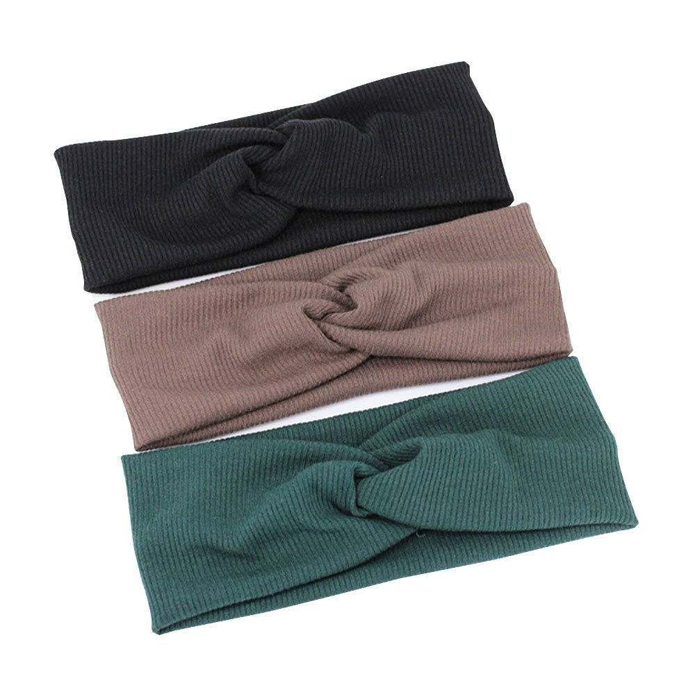 Headbands for Women 3 Pack Elastic Turban Head Wrap Hair Band - Great For Sports, Yoga, Fashion, and Running. Comfortable and Slip Resistant