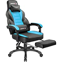 Gaming Chair Racing Style Office Ergonomic Chair High-Back PU Leather Design PC Computer Gaming Chair Adjustable Height Swivel Chair with Footrest, Headrest and Lumbar Support (Blue)