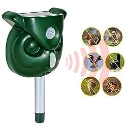 LIDIWEE Animal Repeller, Imperméable Ultrason Solaire Répulsif Chat Exterieur pour Repousser Animaux PIR Lampe LED Sensibilité et Fréquence Réglable Protecteur de Jardin