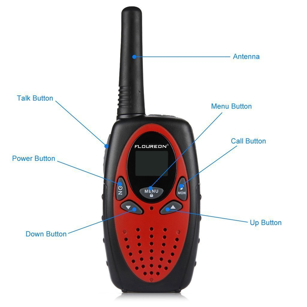 Kids Walkie Talkies FLOUREON Walkie Talkie for Kid 22 Channel Two Way Radios Long Range 3000M (MAX 5000M Open Field) UHF Handheld Outdoor Walkie Talkies(Red) by floureon (Image #2)