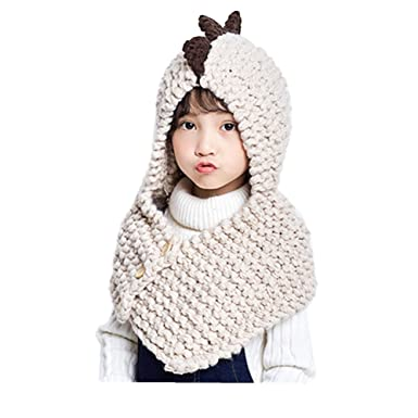 23d741082c5d9 TELLW Children Fall Winter Hooded Scarf Knit Warm Boys and Girls Baby  Dinosaur Scarf One