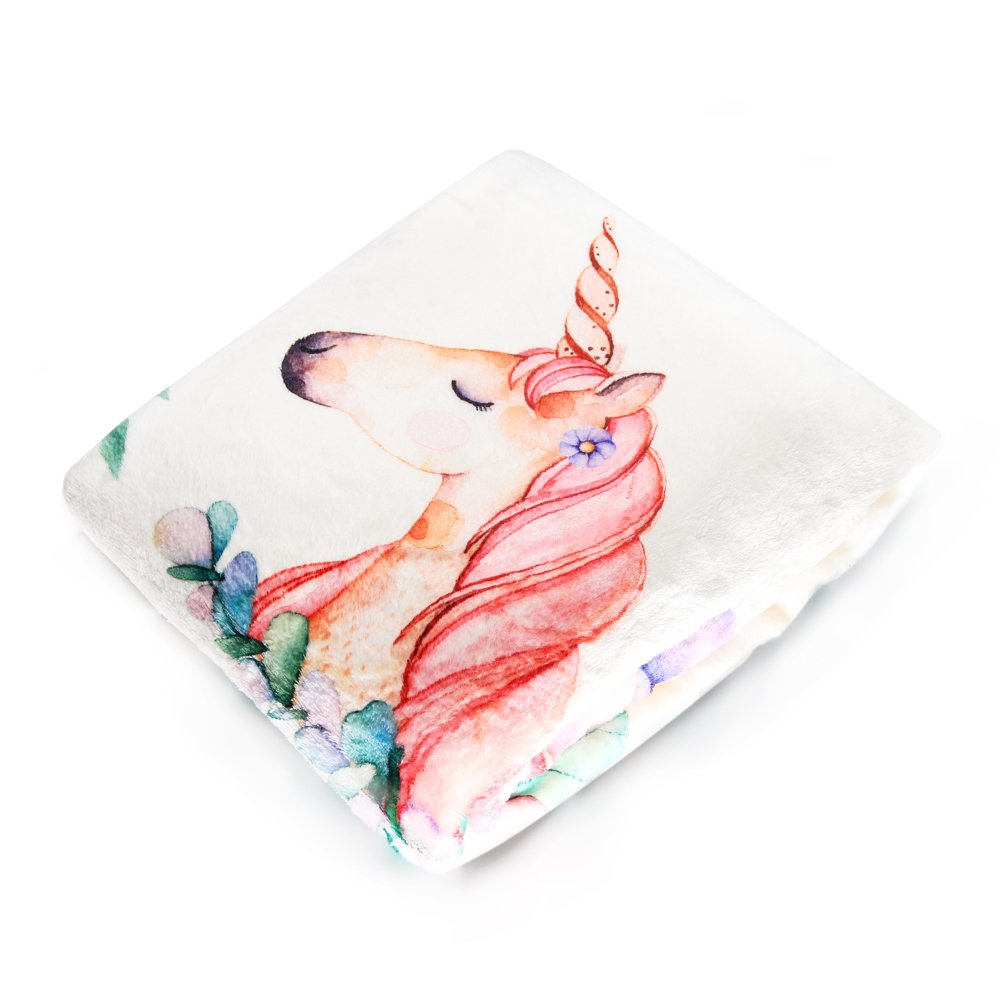 Growing Baby Milestone Blanket, Cute Unicorn Pattern Design, Super Soft Flannel Infant Blanket with Floral Wreath Bonus