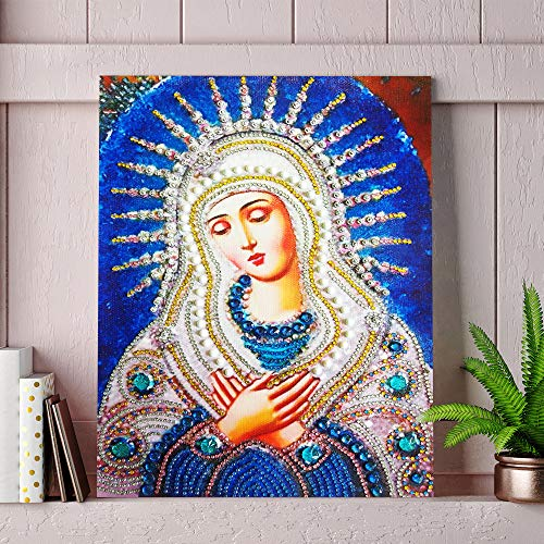 Special Shaped Diamond Painting Madonna - Franterd DIY 5D Partial Drill Cross Stitch Kits Crystal Rhinestone of Picture Diamond Embroidery Mosaic Arts Craft Home Wall Decor by Franterd Home Decor (Image #2)