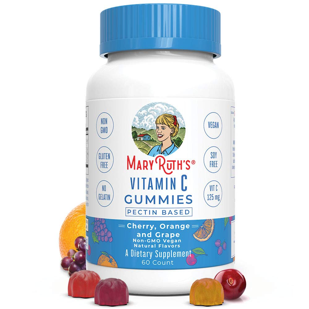 Vitamin c vegan gummies chewable (plant-based) by maryruth's - non-gmo - gluten free - men, women & kids 125 mg of vitamin c per gummy 60 ct