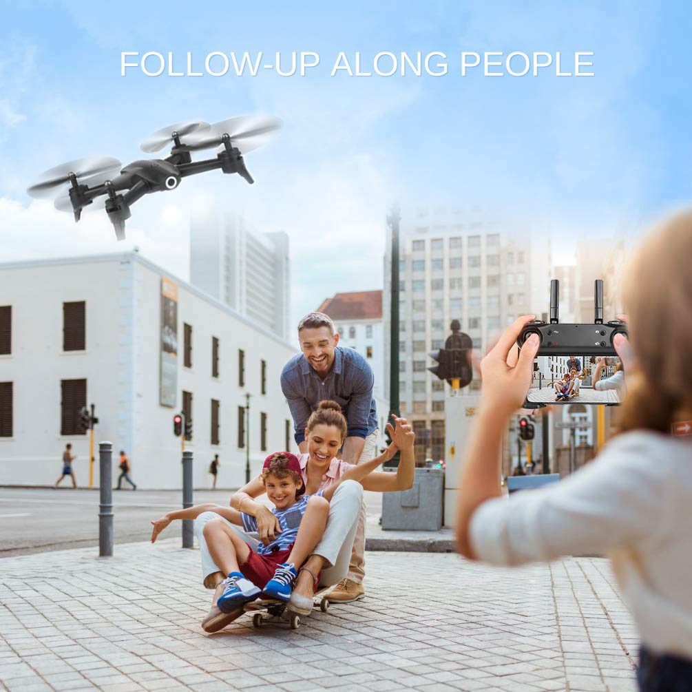 ALLCACA FPV RC Drone with Dual 720P HD Camera Live Video, Gesture Control WiFi Quadcopter with 3D Flips, GPS Return Home, Headless Mode, Gravity Sensor, Altitude Hold for Kids Beginners, Black by allcaca (Image #3)