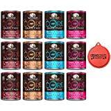 Wellness CORE Natural Grain Free Wet Canned Dog Food Variety Pack - 4 Different Flavors - 12.5 Ounces Each (12 Total Cans) with Can Topper