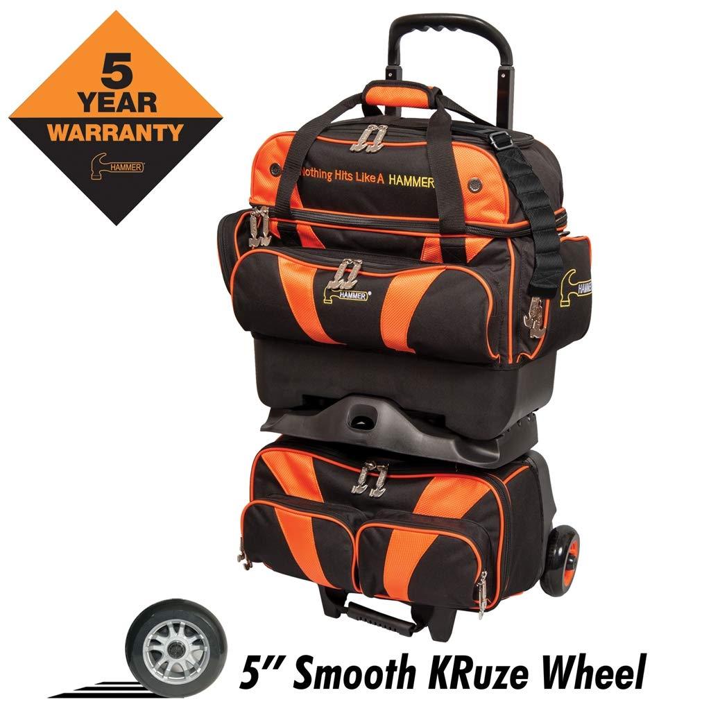 Hammer Premium 4-Ball Stackable Bowling Bag, Black/Orange