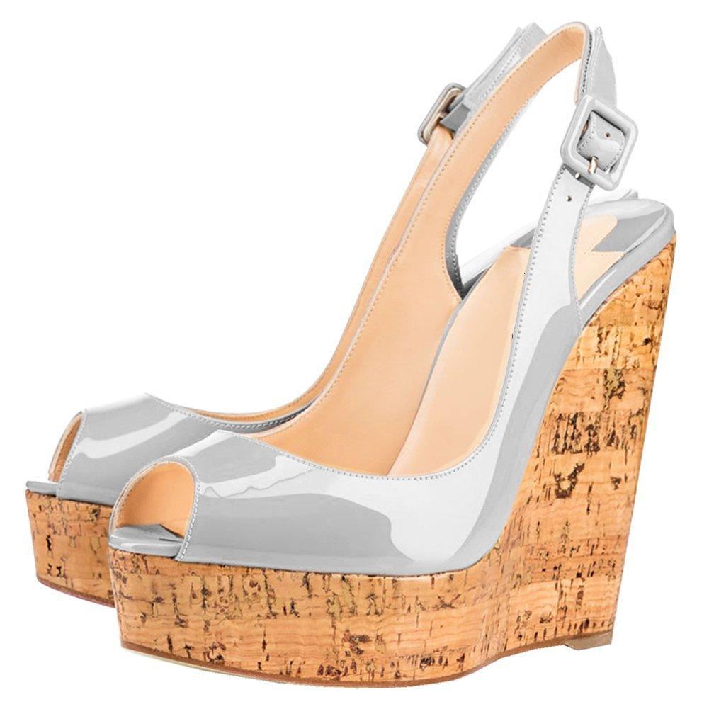 Mermaid Women's Shoes Peep-Toe Patent Leather Sling-Back Wedge Heeled Platform Sandals B07D5ZZ7JR US 8 Feet length 9.513