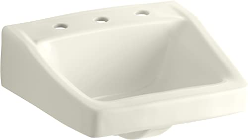 KOHLER K-1724-96 Chesapeake Wall-Mount Bathroom Sink with 8 Centers, 19-1 4 X 17-1 4 , Biscuit