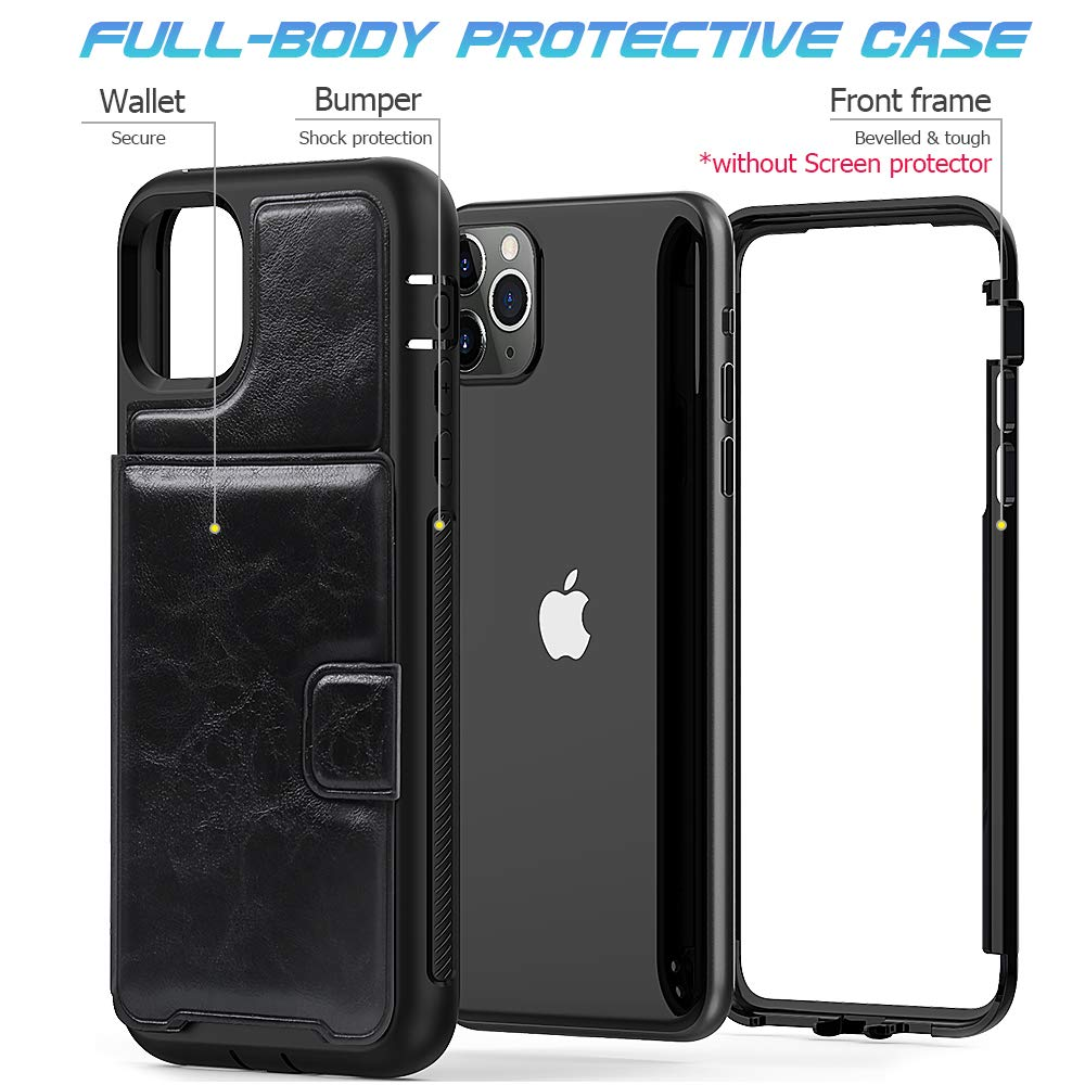 Timecity Apple iPhone 11 Pro Max Case,Triple-Camera System 6.5-Inch Phone Wallet Case. Full-Body Heavy Duty Leather Cover with Card Holder/Kickstand Case for iPhone 11 Pro Max 2019 Release- Black