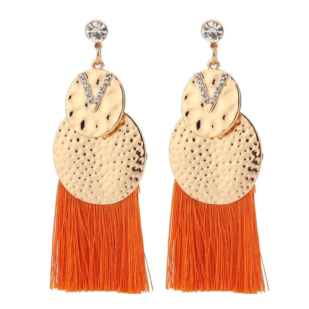 90a056901 Amazon.com: Eran Fashions Round Metal Crystal Tassel Earrings Long Thread  Fringe Statement Earrings Bohemian Dangle Earrings for Women Girls  (Orange): ...