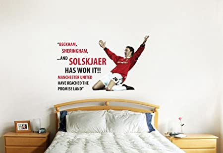 Manchester united 99 champions league commentary quote wall sticker decal football art print for home bedroom