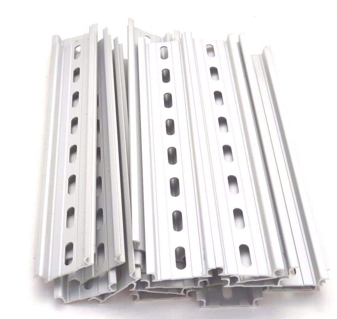 T&G 10 Pieces DIN Rail Slotted Aluminum RoHS 8'' Inches Long 35mm Wide 7.5mm High