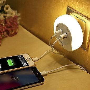 BXT Luz led de noche fotosensible automática con 2 puertos USB cargador para iPhone, iPad, Android, teléfonos móviles ...