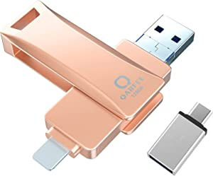 Photo Stick for iPhone, Qarfee (MFi Certified by Apple) 128GB Thumb Drive USB 3.0 Memory Stick Photosticks, Universal OTG USB Flash Drive Compatible with iPhone/iPad Pro/Android/Computer(Pink)