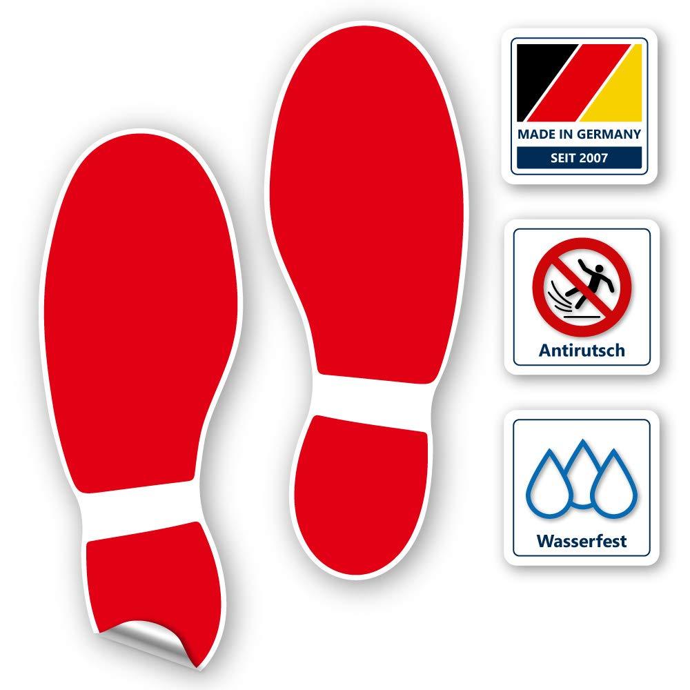 Fußabdruck Aufkleber Für Den Boden 1 Paar Kratzfest Selbstklebend Rutschfeste Bodenaufkleber Fußspur In Rot 120x320 Mm
