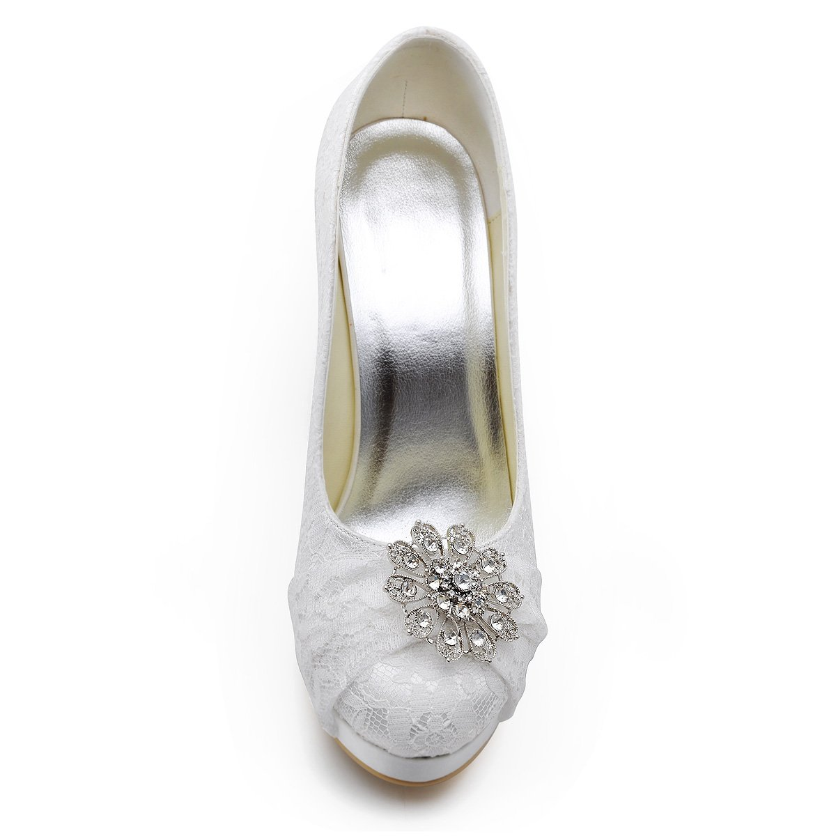 ElegantPark HC1413P Women Pumps Closed Toe Platform High Heel Buckle Lace Wedding Bridal Shoes B00N9TOD84 11 B(M) US (true fitting 10.5 US)|White