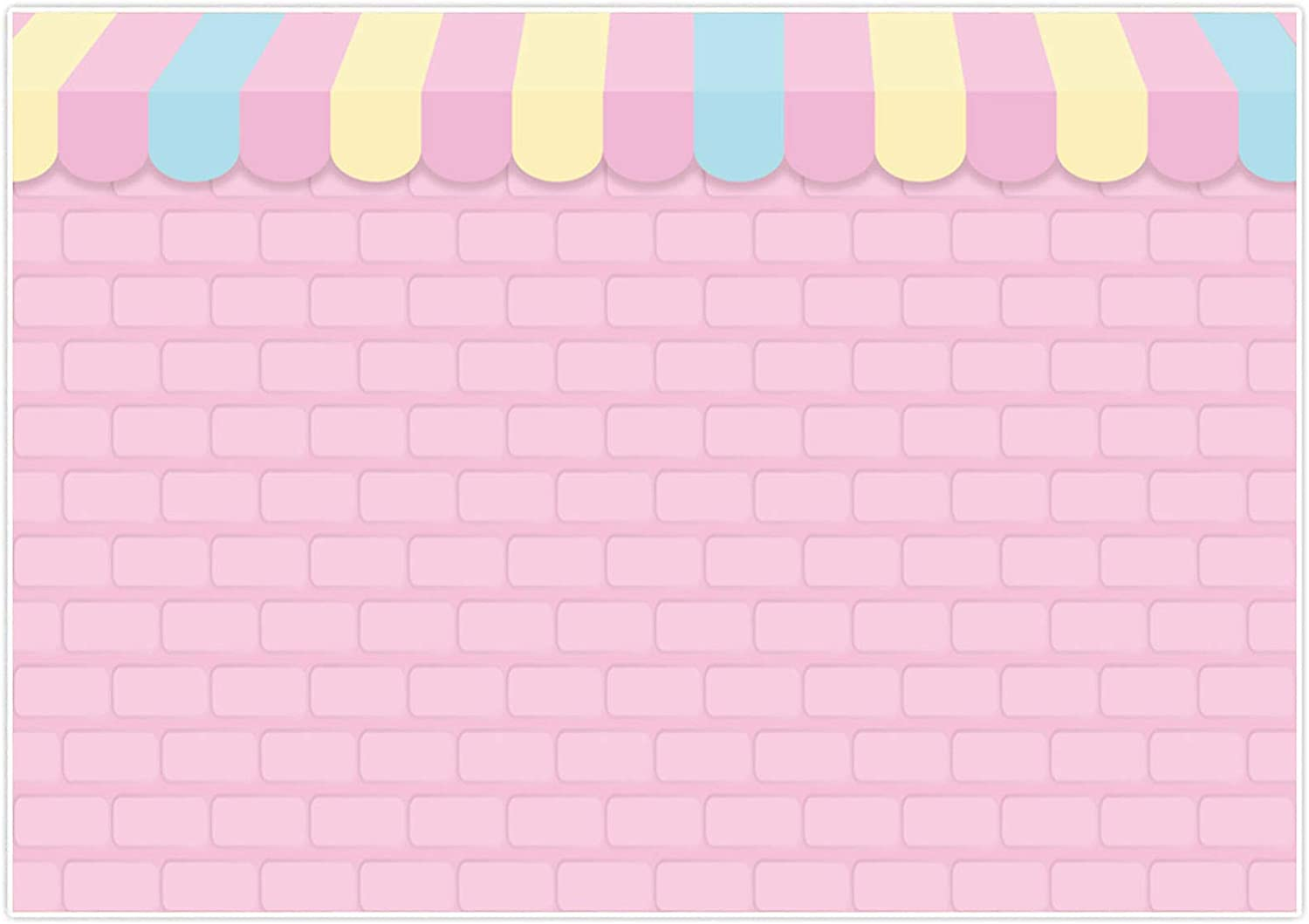 Allenjoy 7x5ft Pink Brick Wall Ice Cream Shop Backdrop for Birthday Party Baby Girl Shower Decorations Photography Background Photo Booth Cake Table Banner