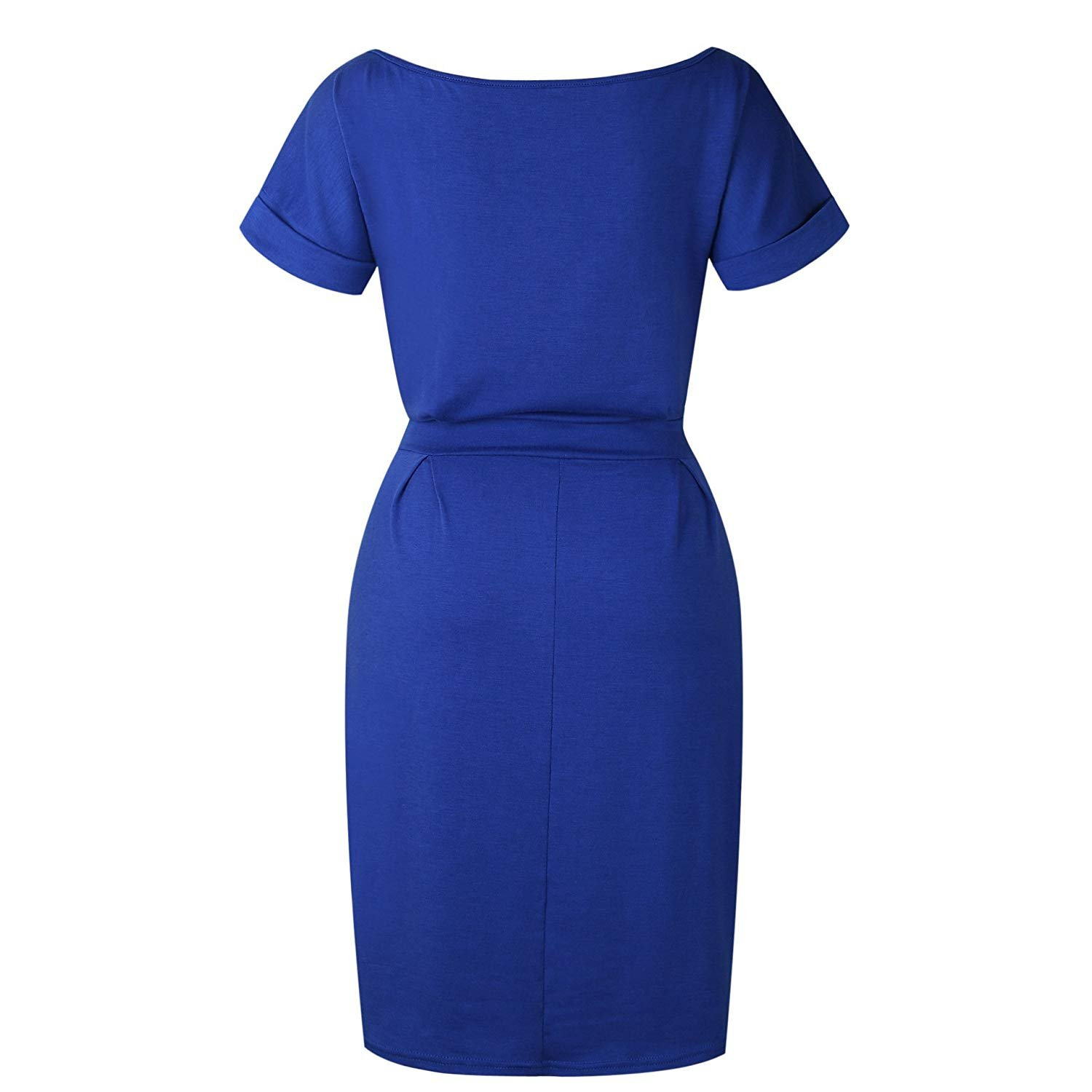 MIDOSOO Womens Business Wear to Work Short Sleeve Pencil Dress with Pockets Blue M by MIDOSOO (Image #5)