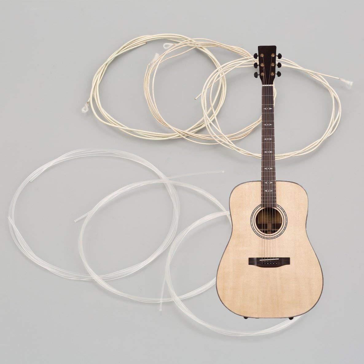 Noradtjcca Klare und Silberne Nylonsilbersaiten f/ür Klassische Gitarre 1M 1-6 EBGDAE Guitarra Bass Parts /& Accessories Set