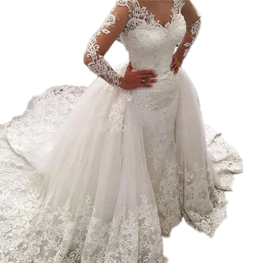 Beilite Women's Lace Long Sleeves Wedding Dresses Appliques Detachable Bridal Gown White 12