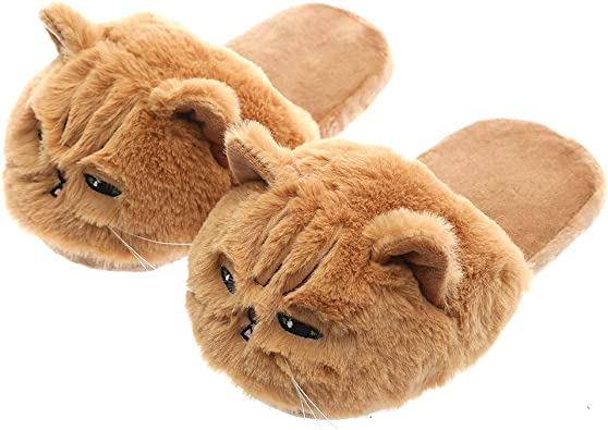 Millffy Cute Plush Animal Cat Slippers