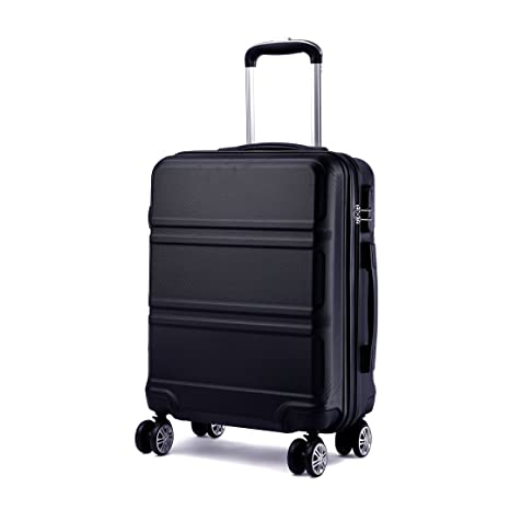 Kono 20 inch Cabin Suitcase Lightweight ABS Carry-on Hand Luggage 4 Spinner  Wheels Trolley Case (Black)  Amazon.co.uk  Luggage a14a6fe7be195