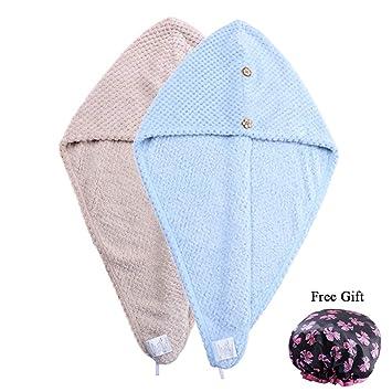 2 piezas de secado rápido toalla de pelo para mujer super absorbente botones de microfibra Twist