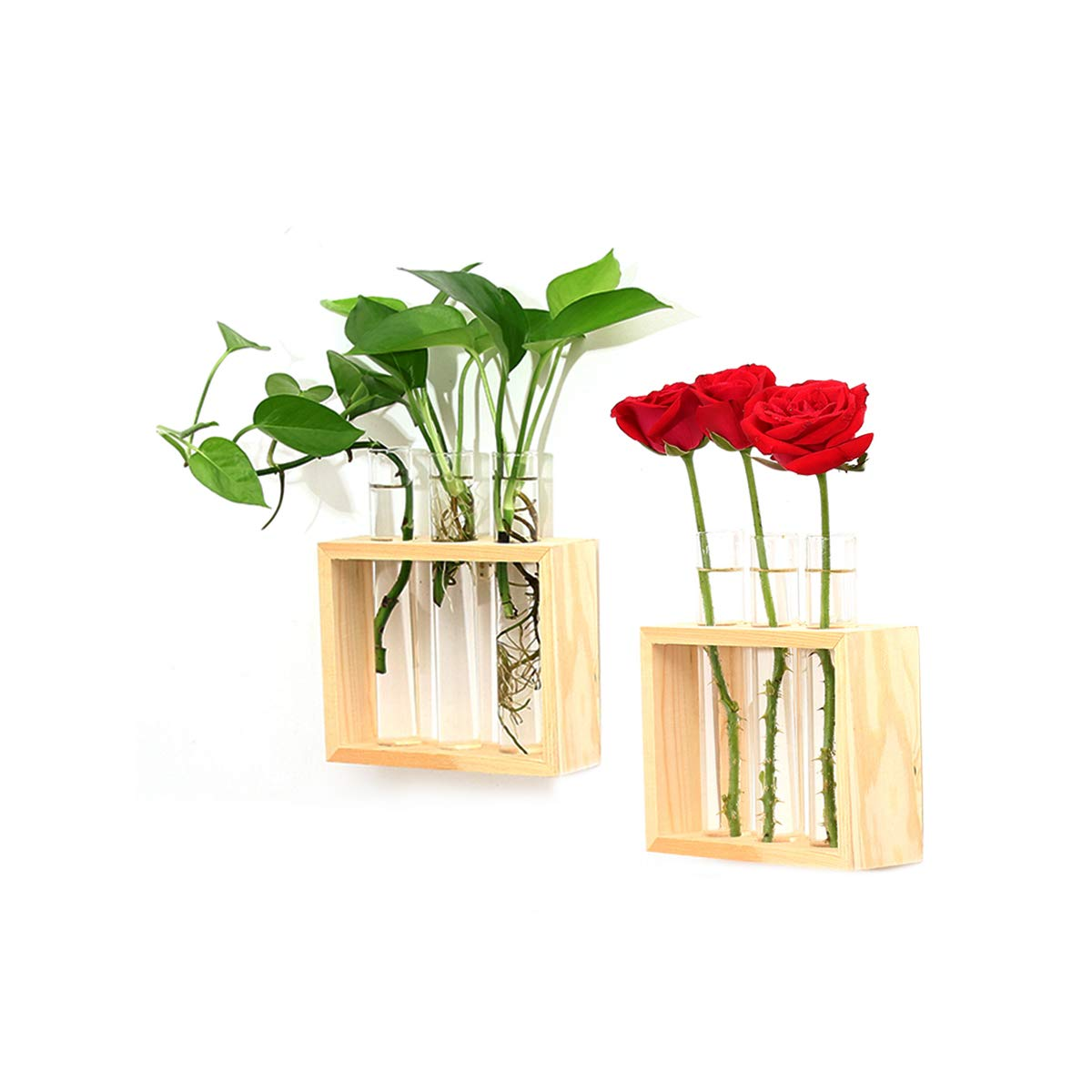 Ivolador Crystal Glass Test Tube Vase in Wooden Stand Flower Pots for Hydroponic Plants Home Garden Decoration 009