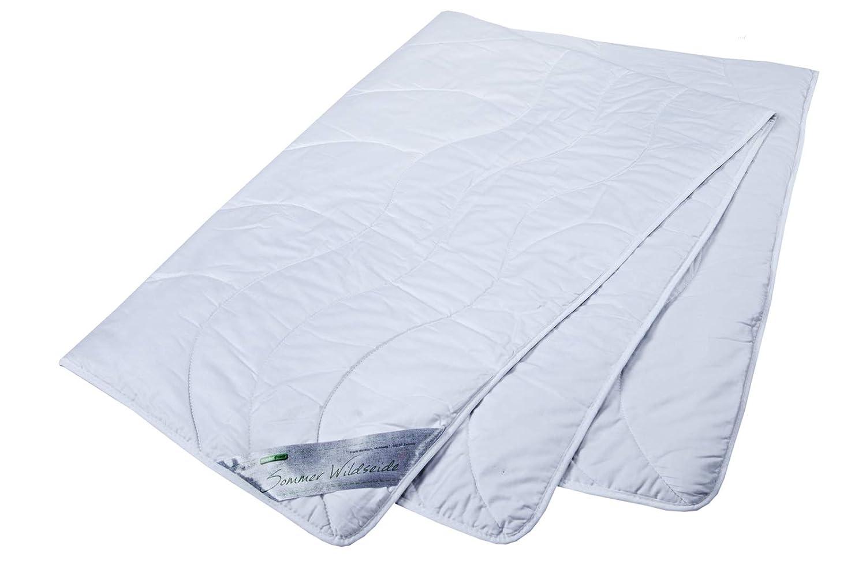 Moebelfrank Sommerdecke 100% Wildseide Bezug Edel-Satin Baumwolle Sommer Bettdecken Natur Wiebke, Größe 220x200 cm