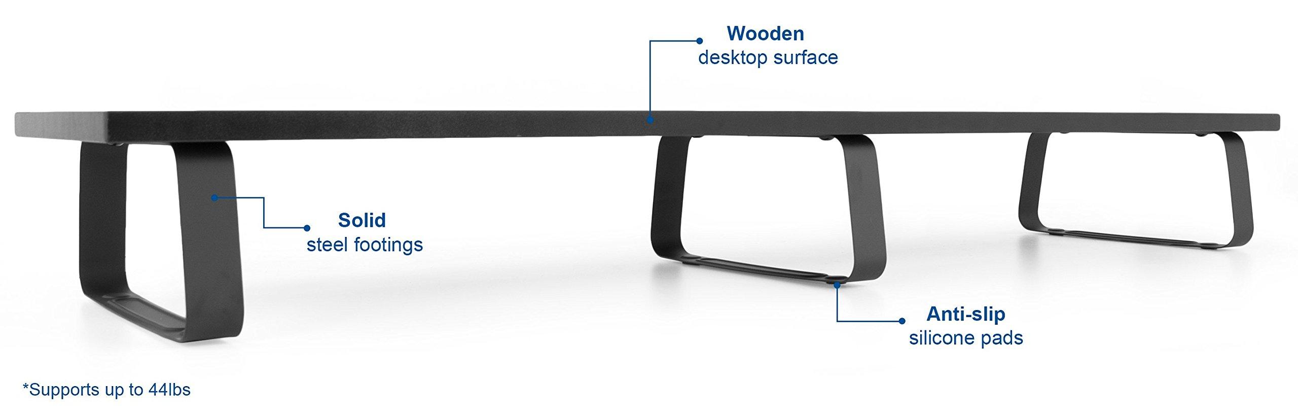 VIVO Black Wood 39'' Wide Extra Long Desktop Stand Ergonomic TV, Dual Monitor Riser and Desk Tabletop Organizer (STAND-V000DL) by VIVO (Image #7)