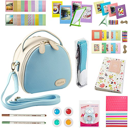 Katia Instant Camera Photo Zipper Bag Film Photography Accessories Bundles for Fujifilm Instax Mini 8/8+ Instant Film Camera (Blue)