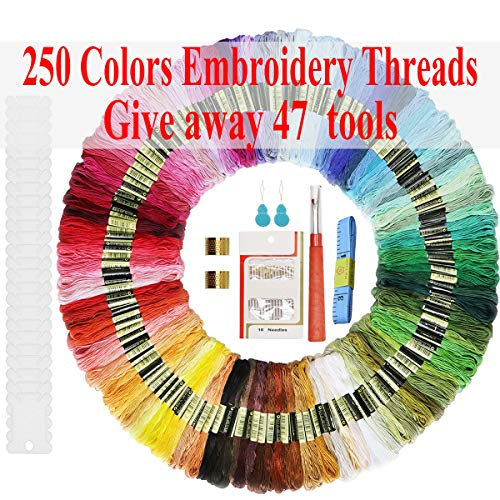 Embroidery Floss Friendship Bracelet String Embroidery Thread String for Bracelets Floss Kit-297 Skeins Cross Stitch Thread with Embroidery Needles Floss Bobbins and Cross Stitch Kit DIY Craft Floss