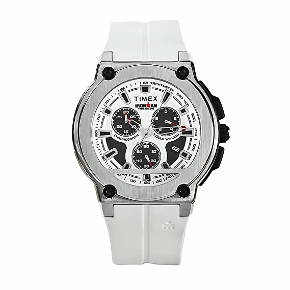 Timex Ironman T5K352 - Reloj de caballero de cuarzo, correa de goma color blanco (