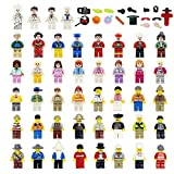 loengt 48 Minifigures Building Bricks Community People with 22 Figure Accessories, Building Party Toys Gift