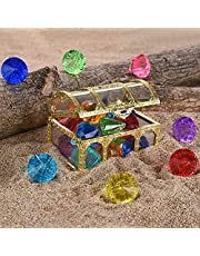 Diving Gem Pool Toy 10 Big Colorful Diamonds Set with Treasure Pirate Box Diving Gem Pool Toy Summer Underwater Swimming Toy Dive Throw Toy Set for Kids Pool Use