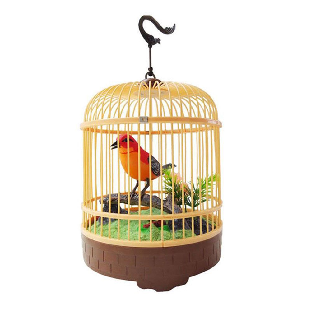 Cido Voice Control Electric toy Simulation Sing&Move Cage Bird Kids Children Sound Pet Toy Decor Gift Electric Induction