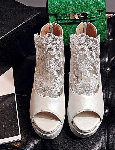 LFNLYX Zapatos de mujer-Tacón Plano-Cuñas / Punta Abierta / Comfort / Innovador / Botas a la Moda / Zapatos y Bolsos a Juego / Zapatillas- White