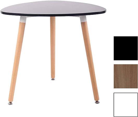 CLP Table de Cuisine Retro Abenra I Table d\'Appoint Triangulaire avec 3  Pieds en Bois Diamètre 80 cm Hauteur de la Table 75 cm I Couleur Noir, 80 cm