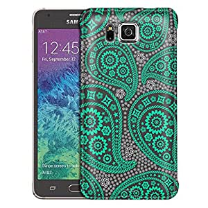 Samsung Galaxy Alpha Case, Slim Fit Snap On Cover by Trek Paisley Green and Flowers on Grey Case
