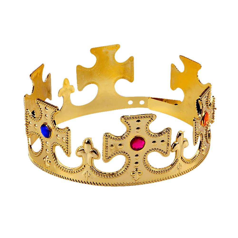 Isuper Drôle Chapeaux de fête réglable Couronne d'or et Rouge Jeweld Couronne