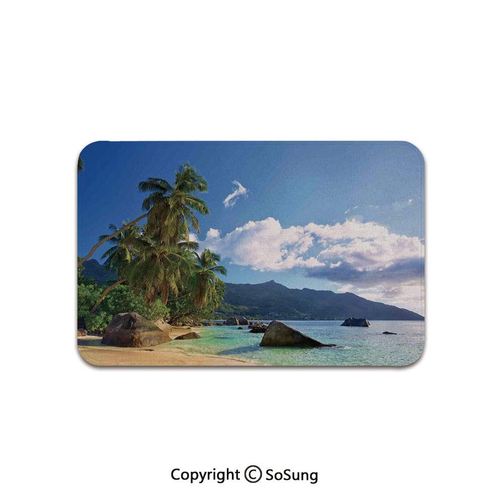 Seaside Decor Area Rug,Tropical Beach in Mahe Island Seychelles Holiday Travel Exotic Destinations Decorative,for Living Room Bedroom Dining Room,5'x 3', by SoSung