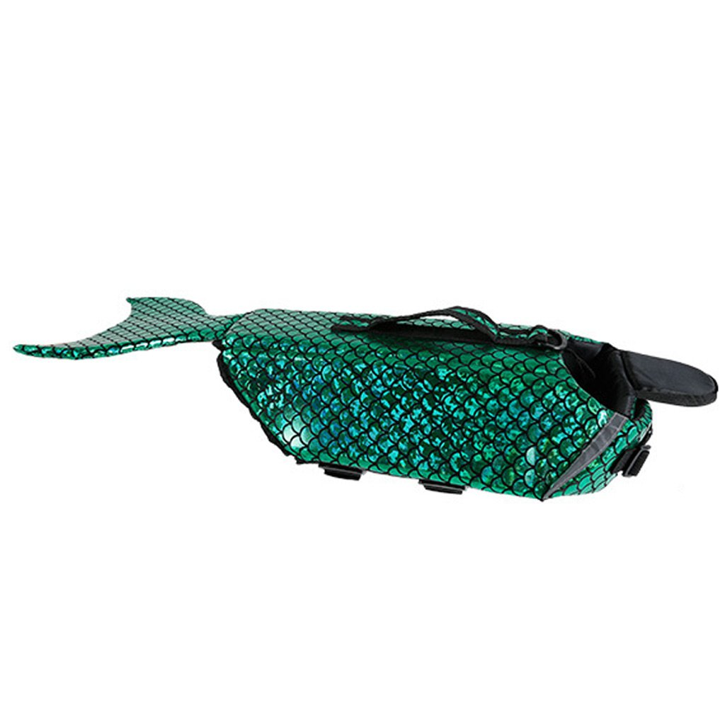 GREEN M GREEN M ZH Pet Lifejacket, Dog Lifejacket, Mermaid Change Body, Dog Swimming Clothes, Teddy, golden Swimsuit, Purple bluee Green (color   Green, Size   M)