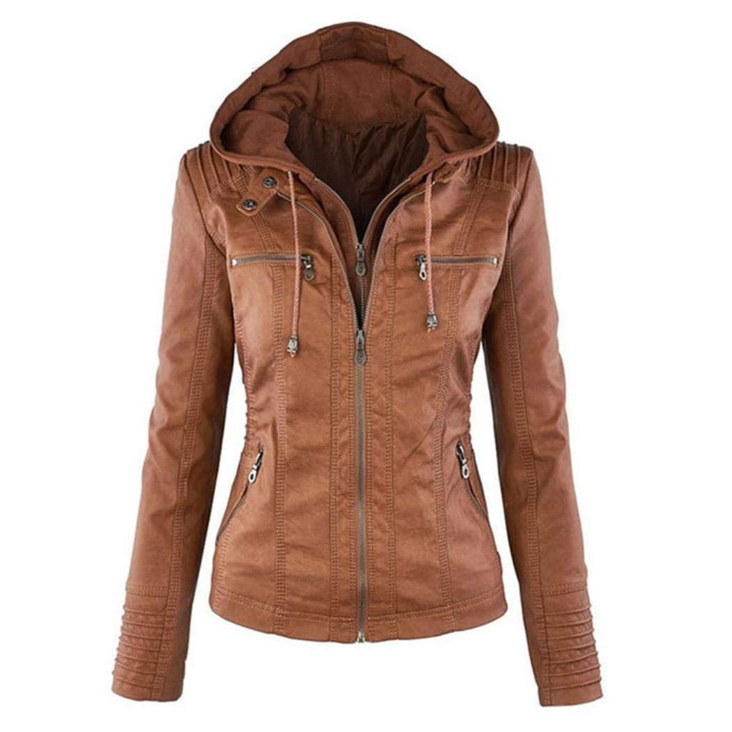 Brown Womens Removable Hooded Faux Leather Jacket Moto Biker Short Jacket Quilted Zip Up Coats XS7XL