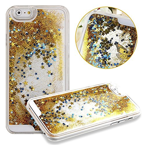 Apple iPhone 6 or 6s Waterfall Liquid Glitter and Stars Quicksand Moveable Water Tank [Hard PC+ Liquid Inner] Impact Protection Hybrid Heavy Shockproof by Tech Express (TM) - (Gold W/ Blue Stars)